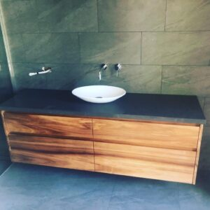 Stone and timber vanity